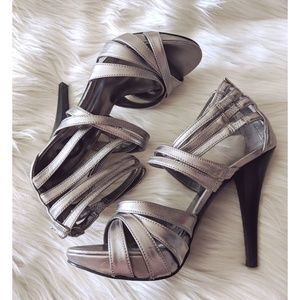 G by Guess Strappy Silver heels